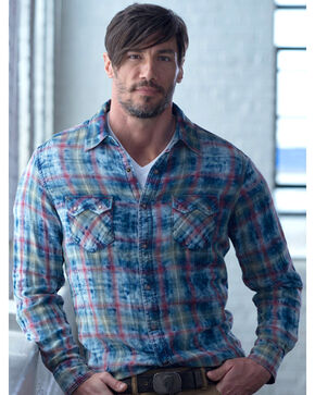 Ryan Michael Men's Indigo Cloud Plaid Shirt, Indigo, hi-res