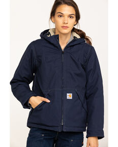 Carhartt Women's FR Full Swing Quick Duck Sherpa-Lined FR Jacket, Navy, hi-res