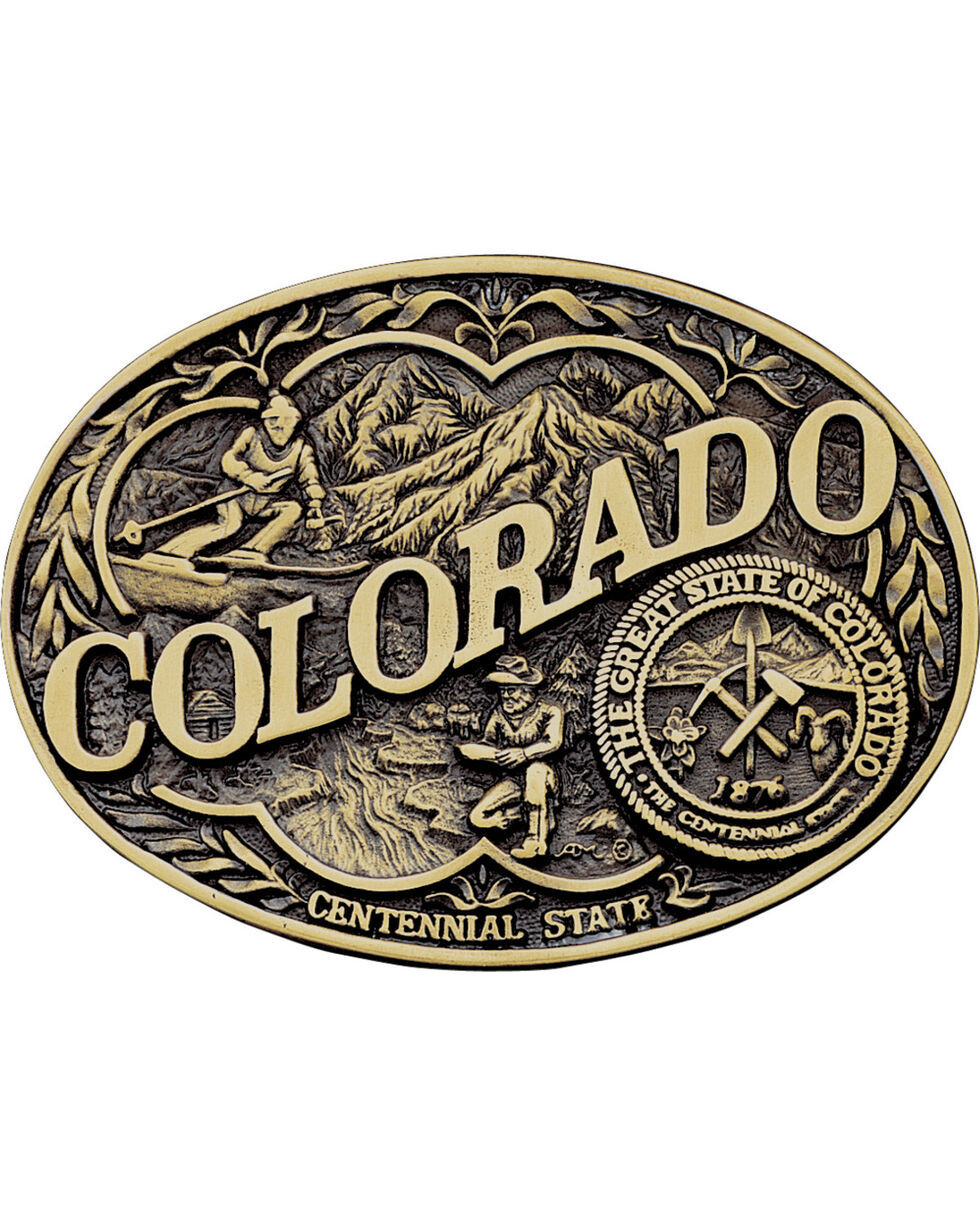 Montana Silversmiths Colorado State Belt Buckle, Gold, hi-res
