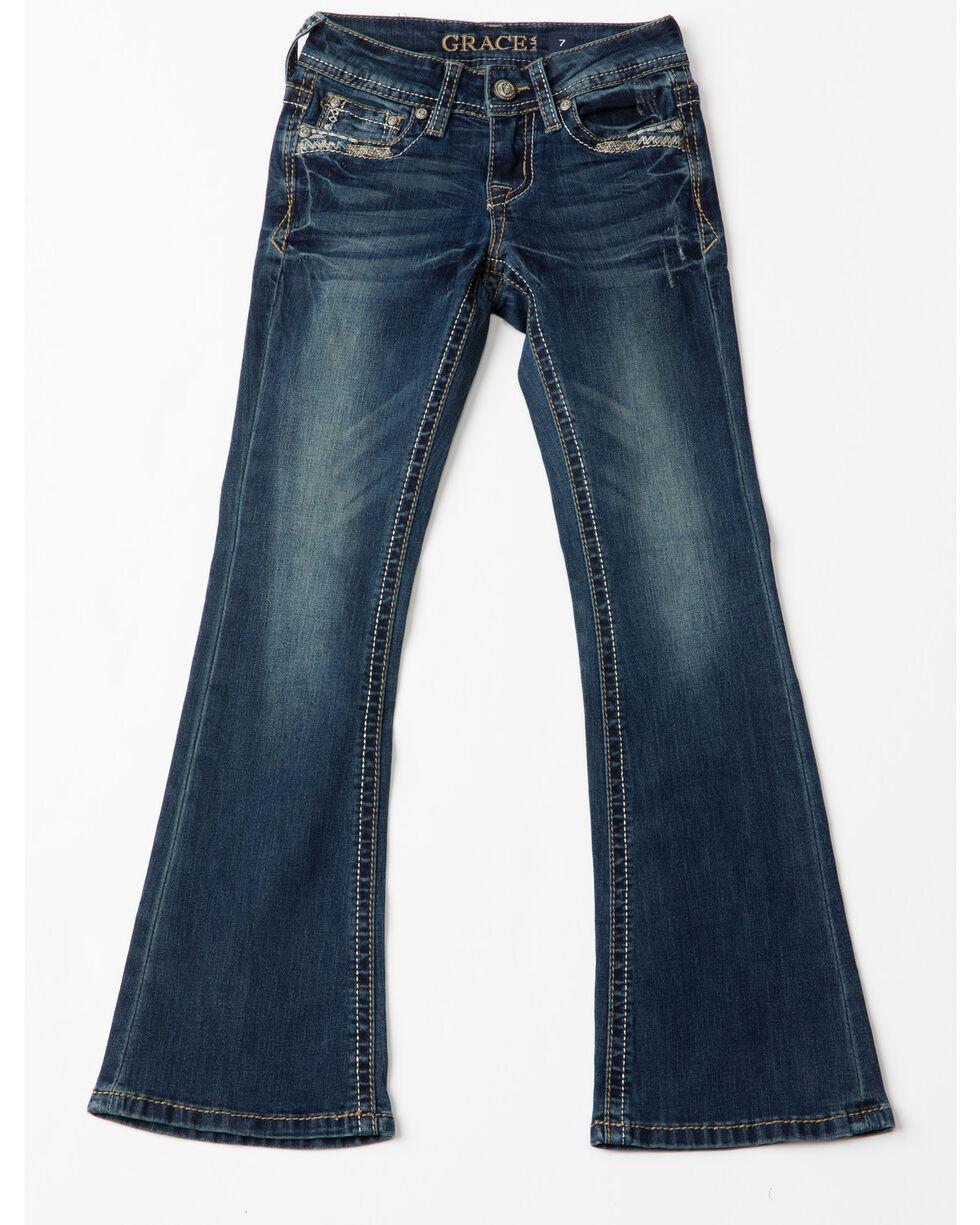 Grace In LA Line Embroidered Pocket Boot Jeans , Indigo, hi-res