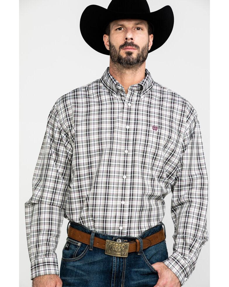 Cinch Men's Multi Tencel Small Plaid Long Sleeve Western Shirt , Purple, hi-res