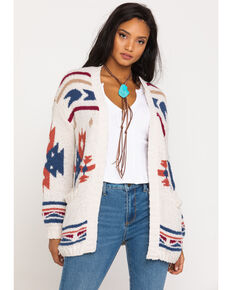 Very J Women's Cream Aztec Cardigan , Cream, hi-res