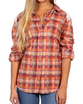 White Crow Women's Lace and Plaid Long Sleeve Flannel, Burgundy, hi-res