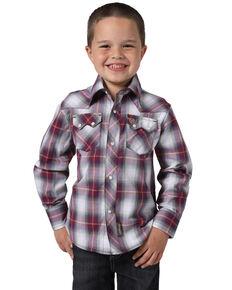 Wrangler Retro Boys' Multi Plaid Long Sleeve Western Shirt , Red, hi-res
