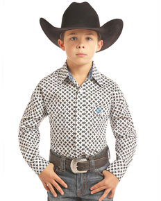 Panhandle Select Boys' White Geo Print Long Sleeve Western Shirt , White, hi-res