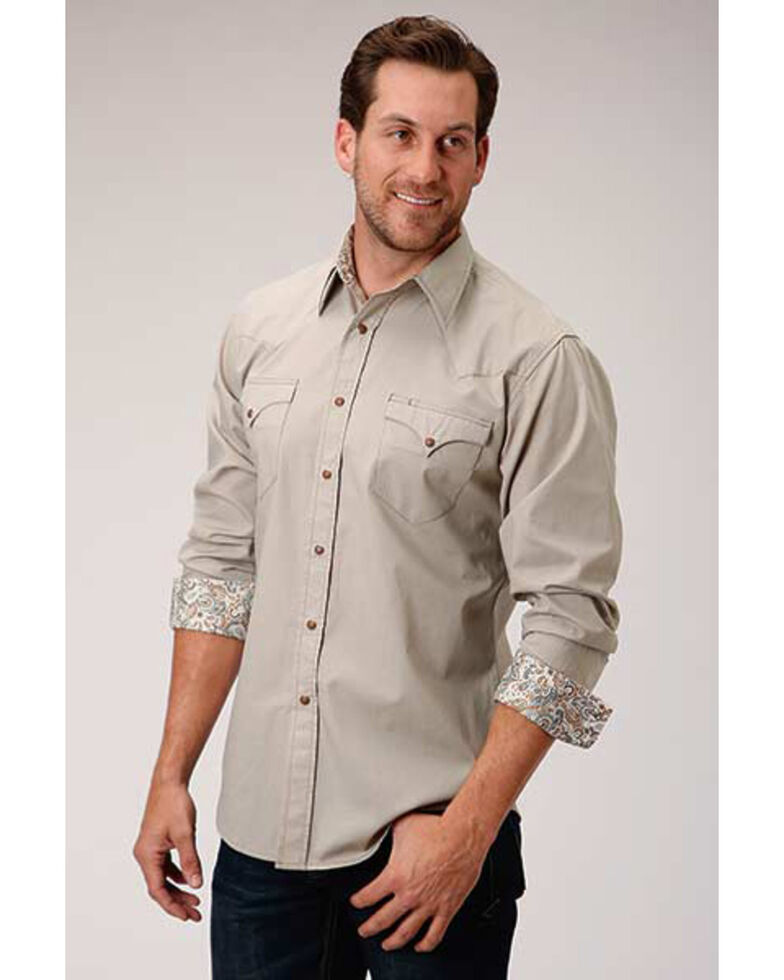 Roper Men's West Made Stone Solid Poplin Long Sleeve Western Shirt , Brown, hi-res
