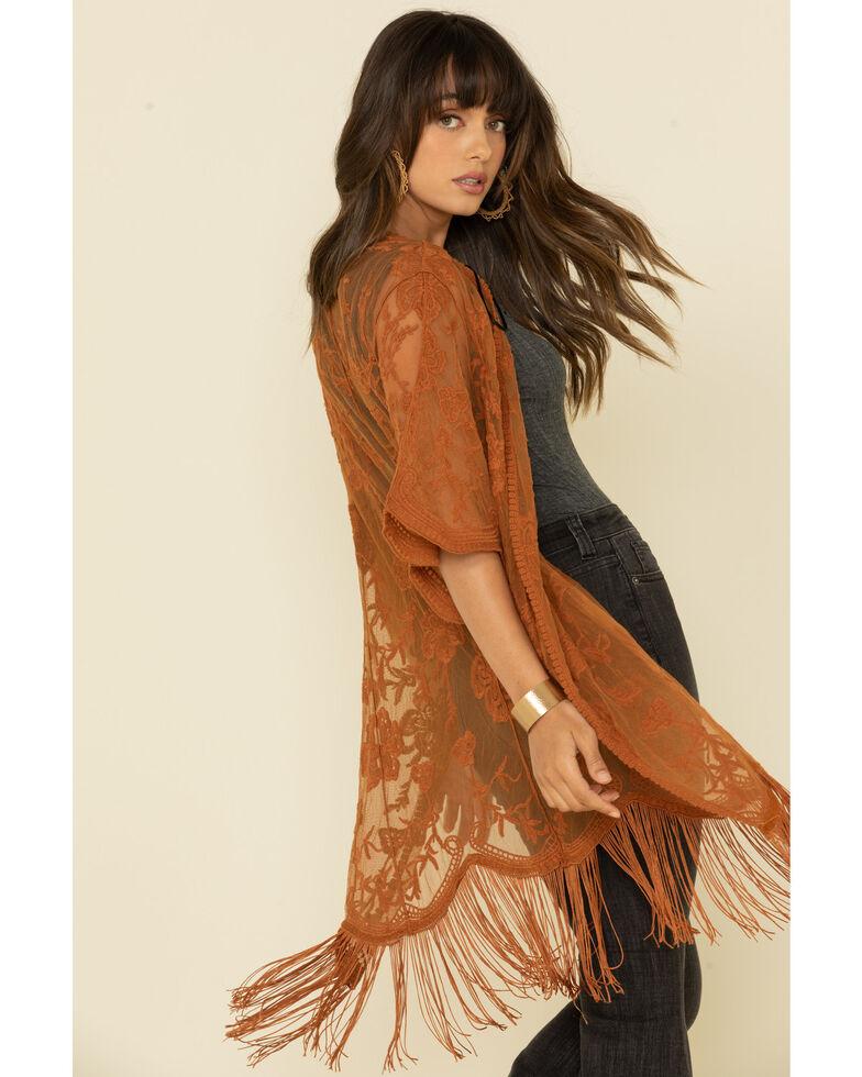 Jody of California Women's Lace Fringe Hem Kimono , Cognac, hi-res