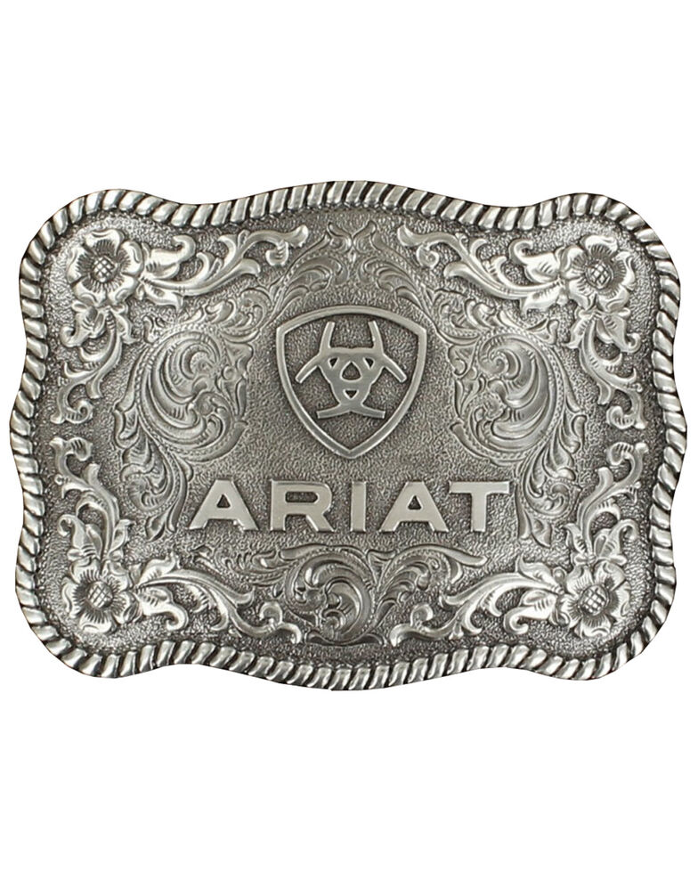 Ariat Rec Rope Edge Buckle, Silver, hi-res