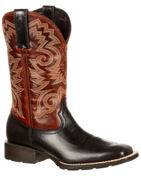 Durango Men's Mustang Western Boots - Square Toe, Black/brown, hi-res