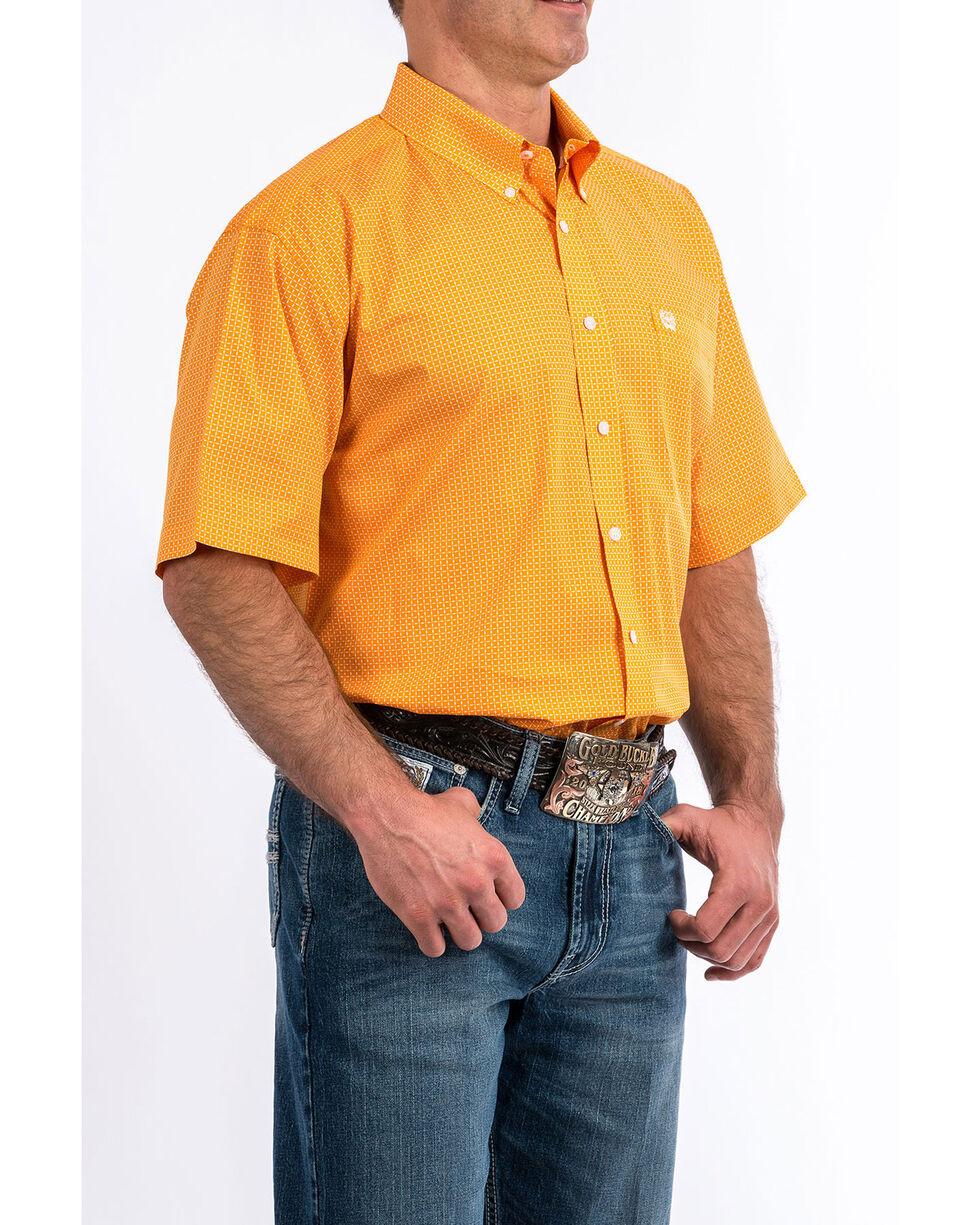 Cinch Men's Orange Geo Print Short Sleeve Western Shirt , Orange, hi-res