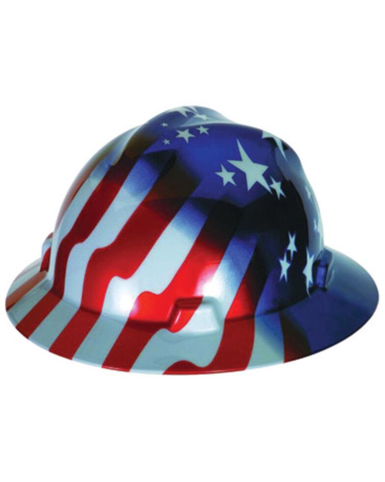 MSA Stars & Stripes Full Brim Cap Style Hard Hat , Multi, hi-res