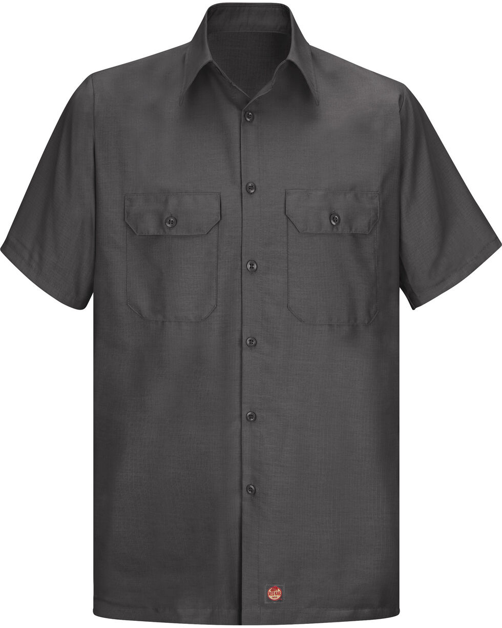 Red Kap Men's Solid Color Rip Stop Short Sleeve Work Shirt - Big & Tall, Charcoal Grey, hi-res