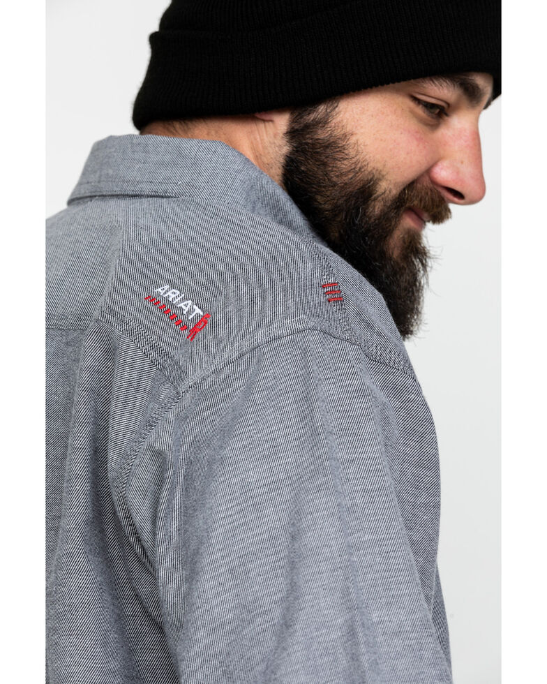 Ariat Men's Dark Navy FR Solid Durastretch Long Sleeve Work Shirt - Big, Navy, hi-res