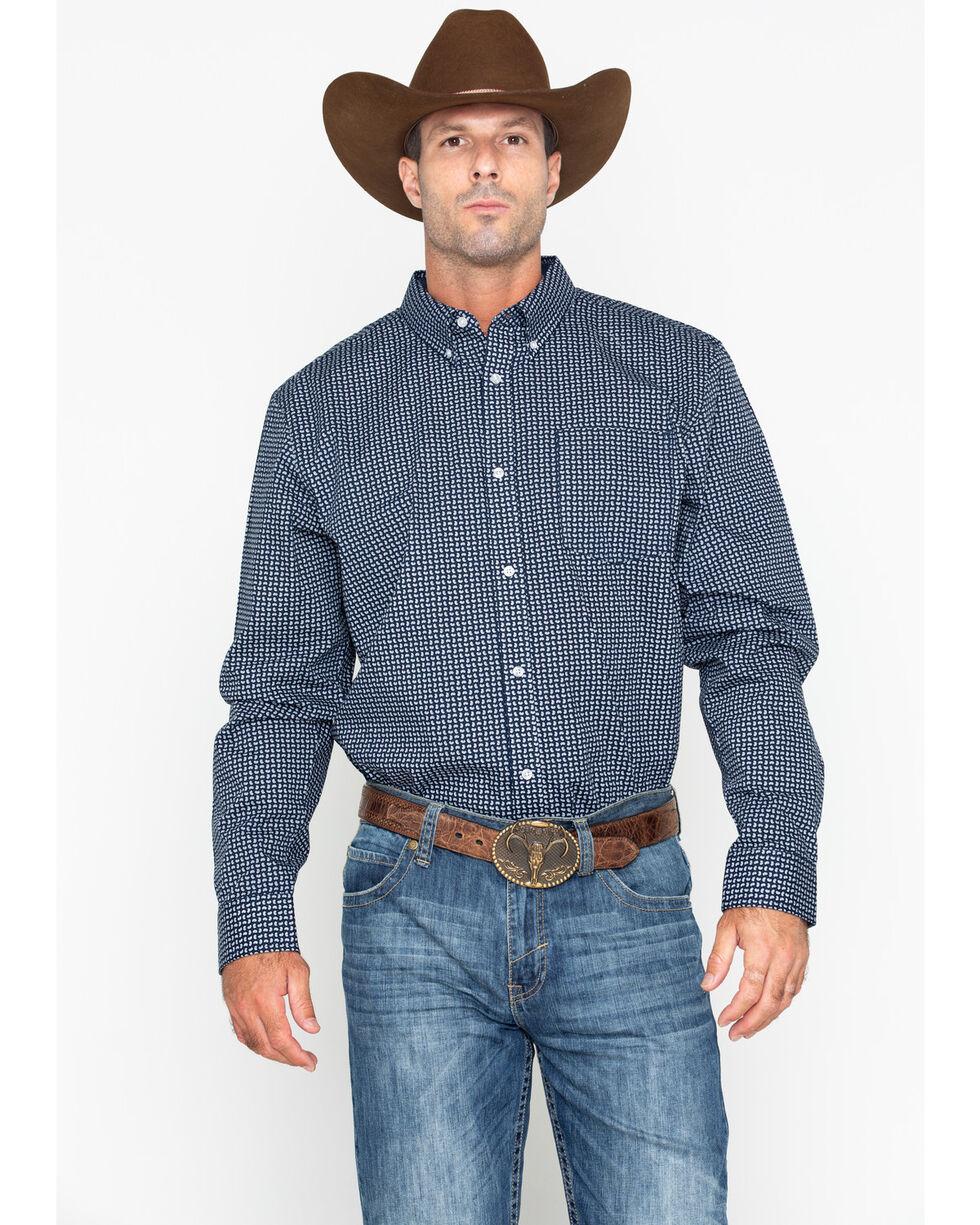 Cody Core Men's Micro Paisley Print Long Sleeve Western Shirt , Navy, hi-res