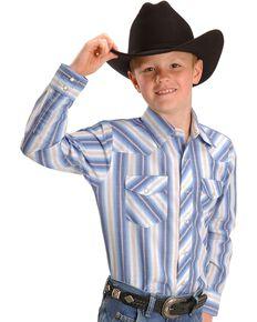 Wrangler Boys' Dress Western Stripe Shirt, Stripe, hi-res
