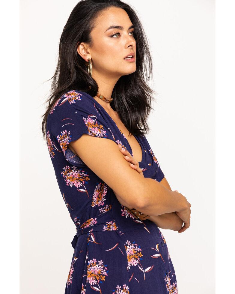 EN Creme Women's Navy Floral Button Midi Dress, Navy, hi-res