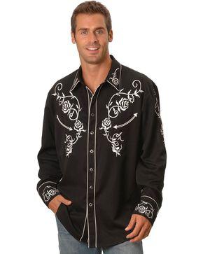 Scully Men's Floral Embroidered Western Shirt, Black, hi-res