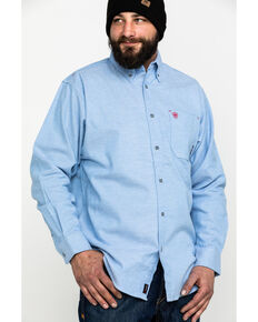 Ariat Men's FR Solid Durastretch Long Sleeve Work Shirt - Big , Blue, hi-res