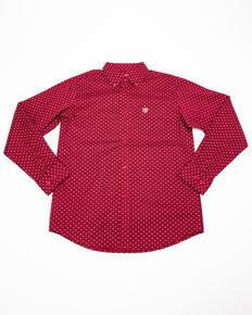 Ariat Boys' Urbin Stretch Geo Print Long Sleeve Western Shirt , Blue, hi-res