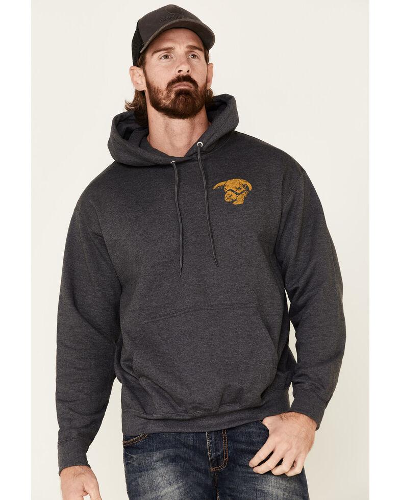 Lazy J Ranch Wear Men's Charcoal Word Plate Graphic Hooded Sweatshirt , Dark Grey, hi-res