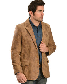 Men's Western Leather Blazer, Brown, hi-res