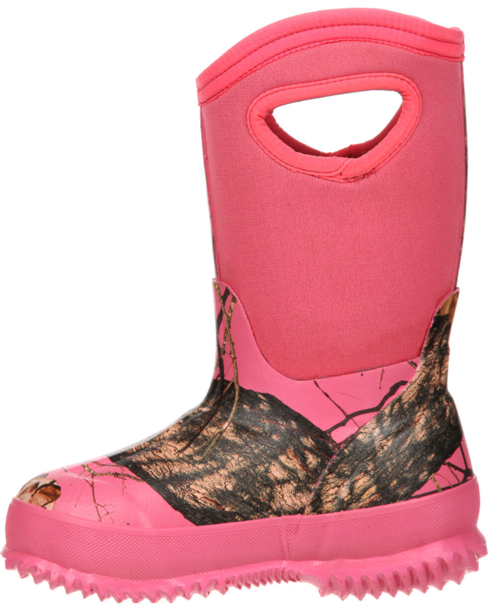 Rocky Girls' Core Pink Camo Waterproof Insulated Rubber Boots, Camouflage, hi-res