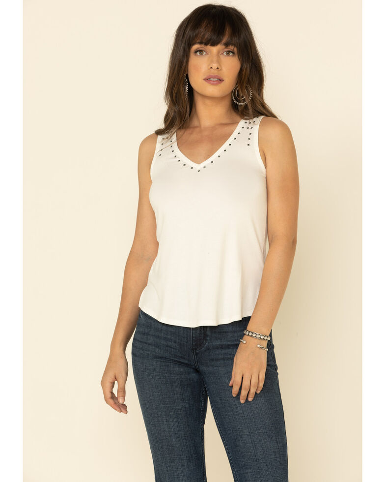 Idyllwind Women's Make Em Turn Studded Tank Top , Ivory, hi-res