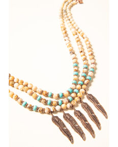 Shyanne Women's Desert Dreams Multi Beaded Feather Necklace, Rust Copper, hi-res