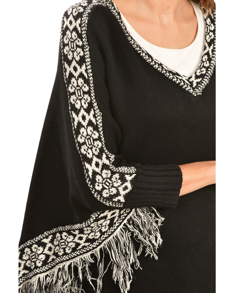 Scully Black and White Fringed Poncho, Black, hi-res