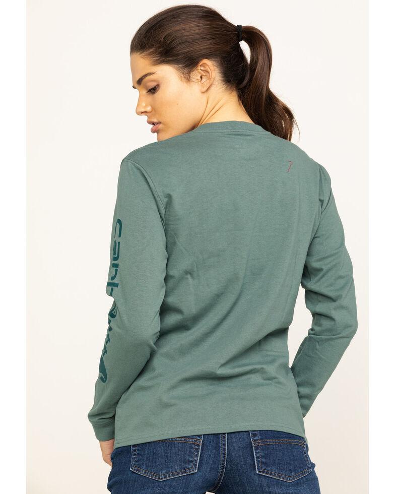 Carhartt Women's Workwear Sleeve Logo Long-Sleeve T-Shirt, Green, hi-res