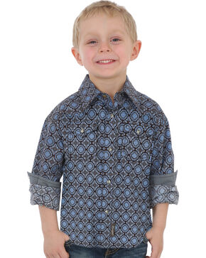 Wrangler Boys' Blue Retro Print Button Down Shirt , Blue, hi-res