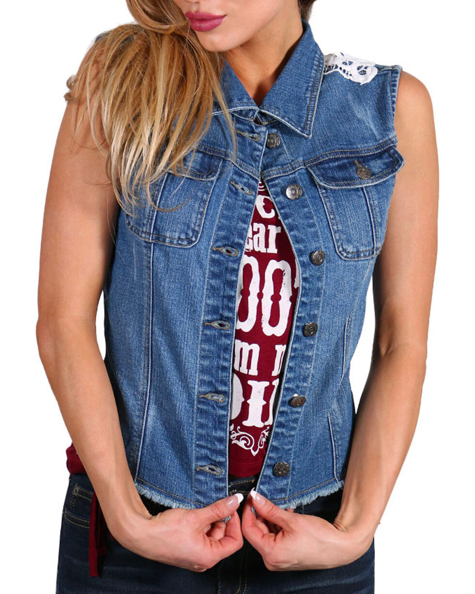 Petrol Women's Denim Lace Back Vest, , hi-res