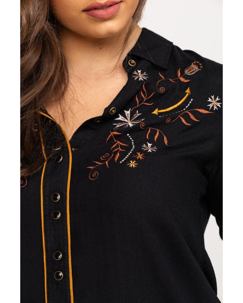 Shyanne Women's Black Embroidered Piping Long Sleeve Western Shirt, Black, hi-res