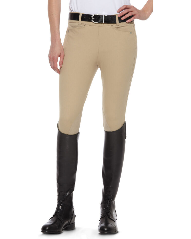 Ariat Women's Heritage Knee Patch Side-Zip Breeches, Tan, hi-res