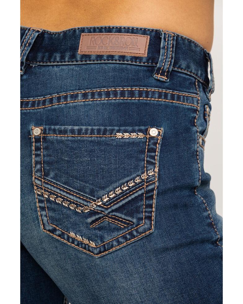 Rock & Roll Cowgirl Women's Dark Mid-Rise Arrow Bootcut Jeans, Blue, hi-res