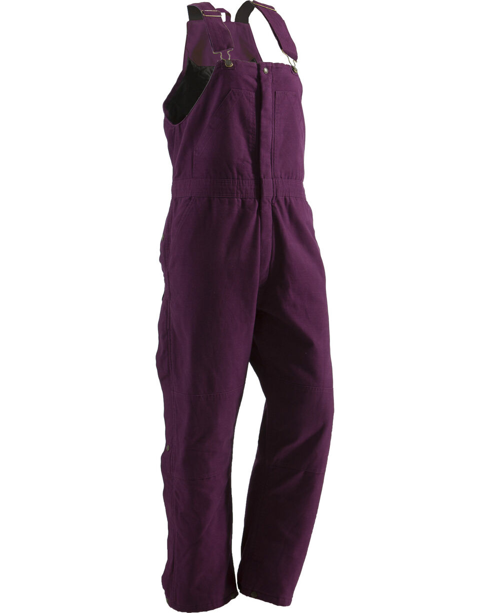 Berne Women's Washed Insulated Bib Overalls - 3X & 4X Tall, Plum, hi-res