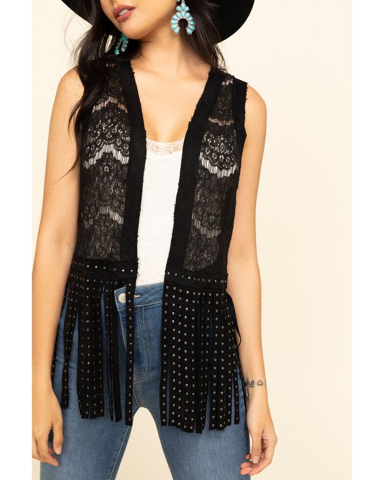 Vocal Women's Lace Studded Fringe Vest, Black, hi-res