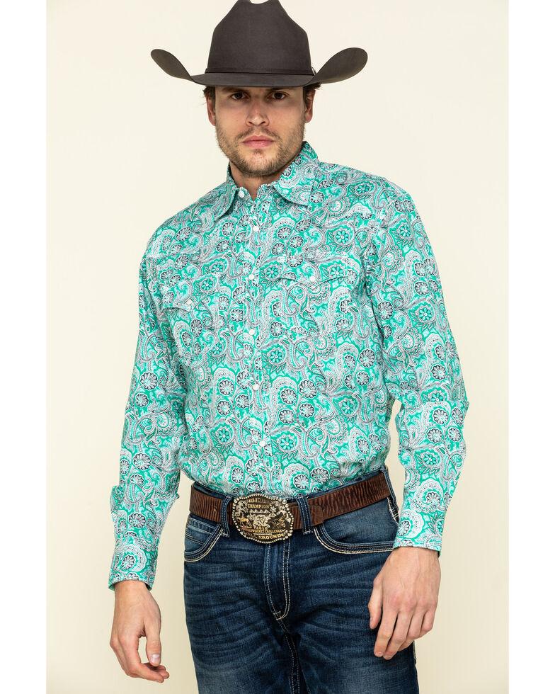 Wrangler 20X Men's Advanced Comfort Green Paisley Print Long Sleeve Western Shirt , Green, hi-res