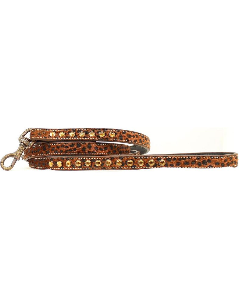 Blazin Roxx Leopard Print Hair-on-Hide Leash, Brown, hi-res