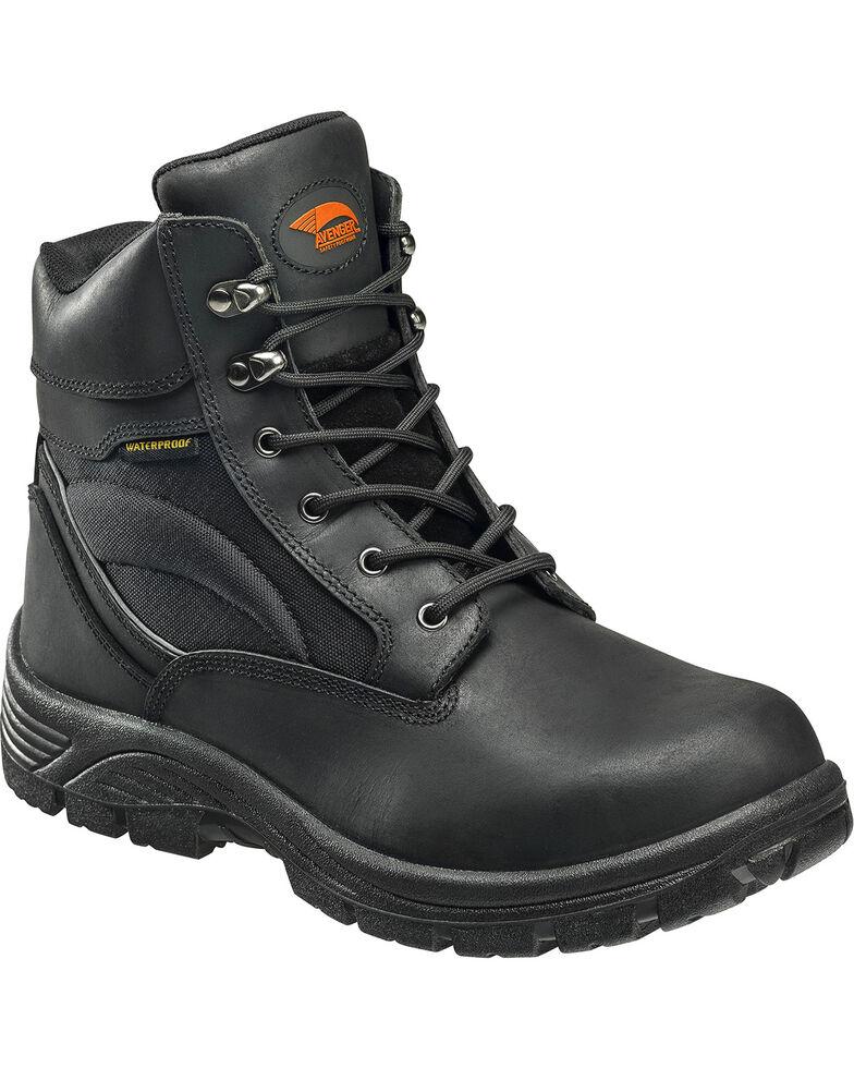 """Avenger Men's 6"""" Steel Toe Lace Up Work Boots, Black, hi-res"""