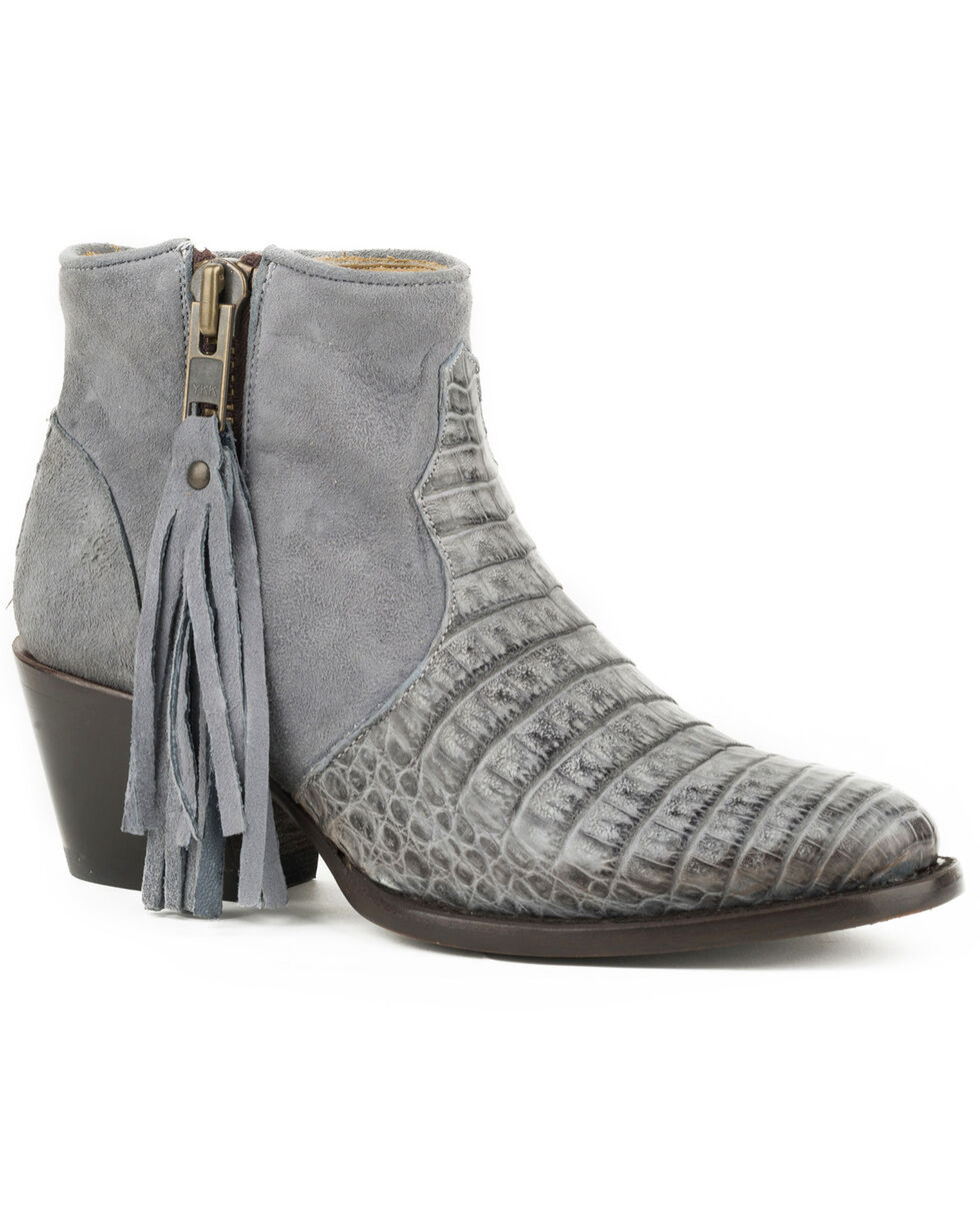 Stetson Women's Gray Paris Caiman Booties - Round Toe , Grey, hi-res