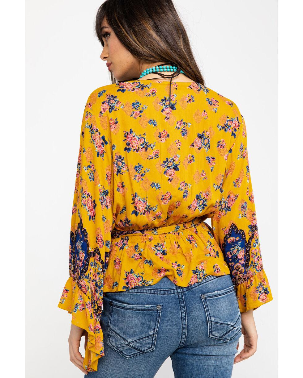 Nostalgia Women's Yellow Floral Print Surplice Bell Sleeve Top, Dark Yellow, hi-res