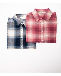 Cumberland Outfitter Girls' Pink and Blue Plaid Long Sleeve Woven Shirt, Multi, hi-res