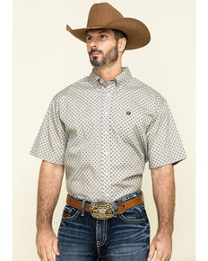 Cinch Men's Grey Small Paisley Print Short Sleeve Western Shirt , Grey, hi-res