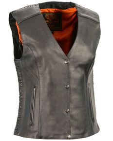 Milwaukee Leather Women's Phoenix Stud Embroidered Snap Front Vest - 3X, Black, hi-res