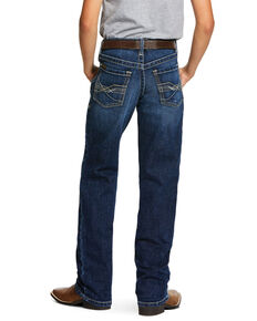 Ariat Boys' Wiley B5 Dark Stretch Slim Straight Jeans , Blue, hi-res