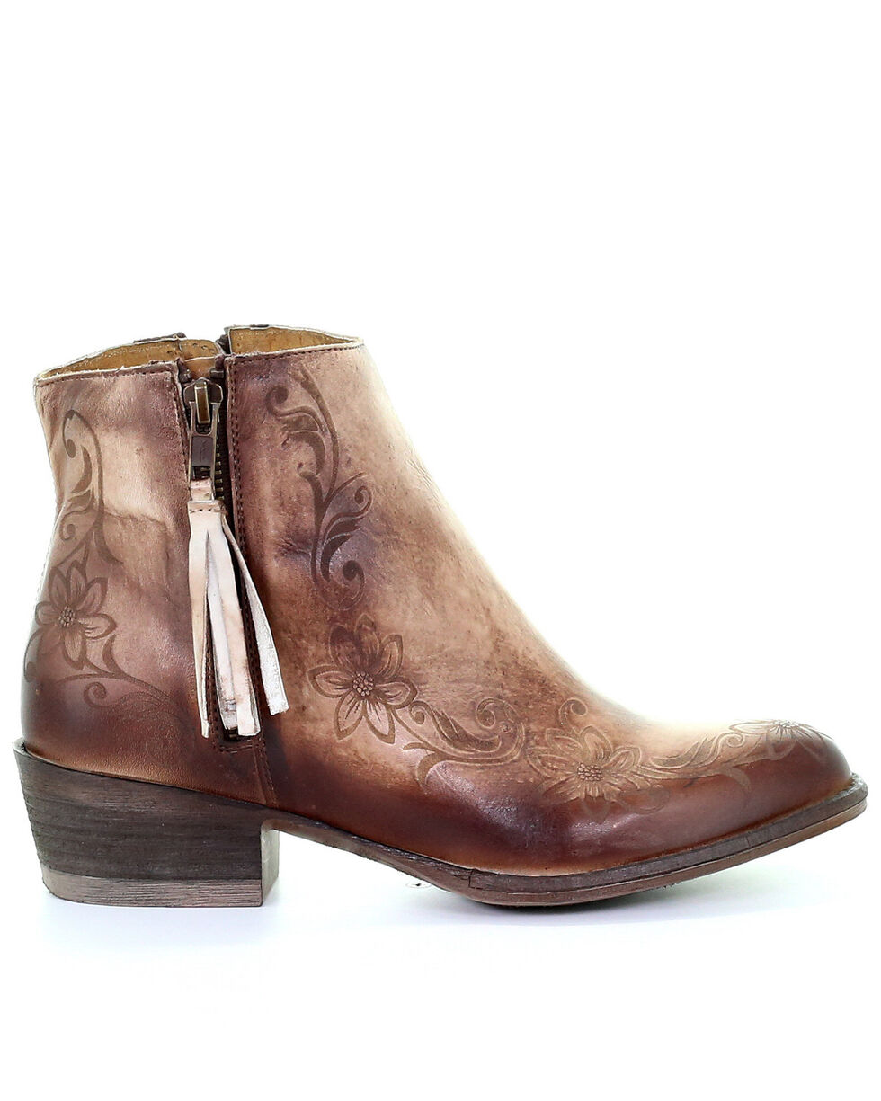 Corral Women's Floral Laser Fashion Booties - Round Toe, Brown, hi-res