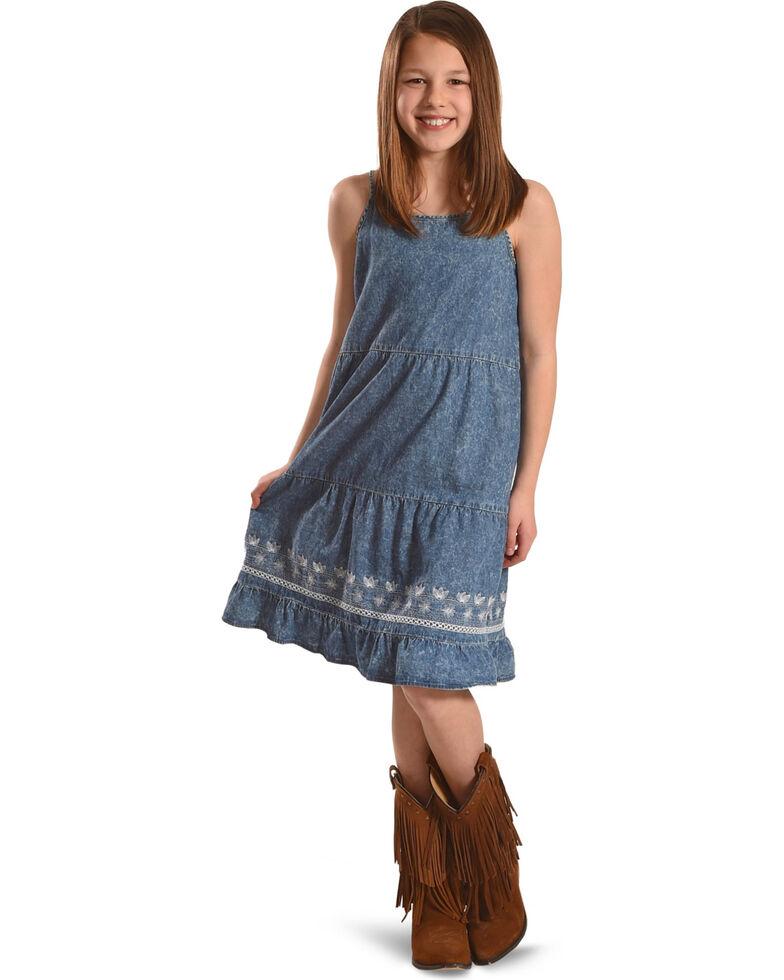 Silver Toddler Girls' Sleeveless Tiered Denim Dress, Blue, hi-res
