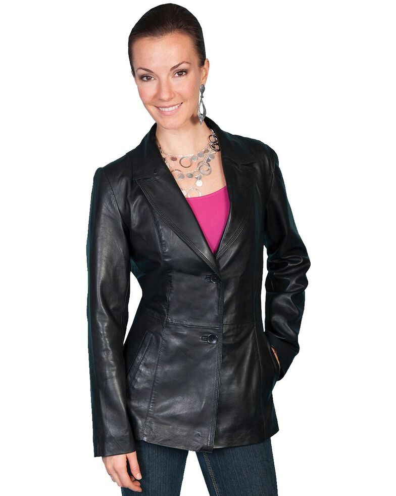 Scully Women's Tailored Lamb Blazer, Black, hi-res