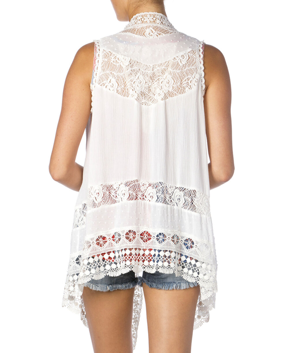 Miss Me Women's White Lace Vest, Off White, hi-res